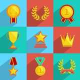 Award icons set colored Royalty Free Stock Photo