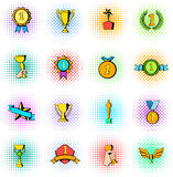 Award icons set, comics style. Award icons set in comics style on a white background Royalty Free Stock Photo