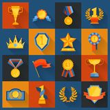 Award icons set flat Royalty Free Stock Photography