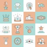 Award icons set flat line Royalty Free Stock Photography