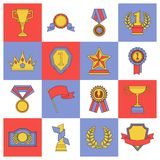 Award icons set flat line. Of medal flag cup competition insignia isolated vector illustration Royalty Free Stock Image