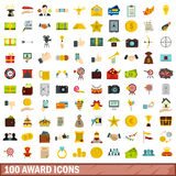 100 award icons set, flat style. 100 award icons set in flat style for any design vector illustration Royalty Free Stock Photos