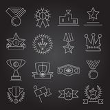 Award icons set outline Royalty Free Stock Photos