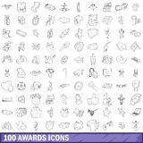 100 award icons set, outline style Royalty Free Stock Photography