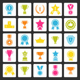 Award icons set.Vector prizes collection. Royalty Free Stock Photo
