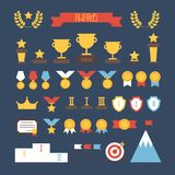 Award icons. Vector colorful set of prizes and Stock Photos