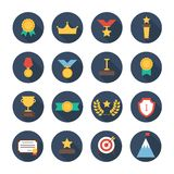 Award icons. Vector colorful set of prizes and Royalty Free Stock Image