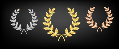 Award laurel set - first, second and third place. Winner template. Symbol of victory and achievement. Gold laurel wreath. Realistic vector object isolated Royalty Free Stock Photos