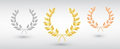 Award laurel set - first, second and third place. Winner template. Symbol of victory and achievement. Gold laurel wreath. Realistic vector object isolated royalty free illustration