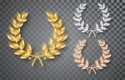 Award laurel set isolated on a transparent background. First, second and third place. Winner template. Symbol of victory. And achievement. Gold laurel wreath vector illustration
