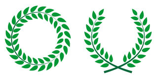 Award Laurel Wreath. Winner Leaf label,  Symbol of Victory. Vect. Or Illustration EPS10 Royalty Free Stock Photo