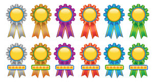 Award Medal. Award Ribbons; Gold Seals and Corners; Gold badge or medal; Seal of Approvals Royalty Free Stock Photography