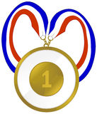 Award Medal. A first place medal or badge.  A red, white, and blue ribbon Stock Photos
