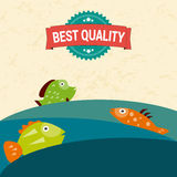 Award medal best quality and fish in the sea. Editable for your design. Vector illustration Royalty Free Stock Photos