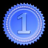 Award medal first place winner blue version. Number one champion. Success icon beautiful sparkling. 3d illustration isolated on black background Stock Photos