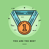 Award medal, flat design thin line banner Royalty Free Stock Photography