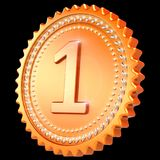 Award medal golden first place winner sparkling on black. Award medal golden first place winner sparkling. Number one champion success icon. 3d illustration Royalty Free Stock Photography
