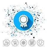 Award medal icon. Best guarantee symbol. Button on circles background. Award medal icon. Best guarantee symbol. Winner achievement sign. Calendar line icon. And Stock Images