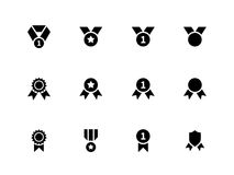 Award and medal icons on white background. Stock Photos
