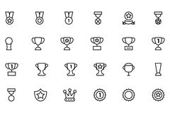 Award and Medal Vector Line Icons 2. Score! First place, second place, third place! This Award & Medal Vector Pack is filled with beautifully crafted icons Stock Photography