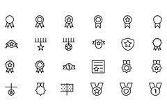 Award and Medal Vector Line Icons 1. Score! First place, second place, third place! This Award & Medal Vector Pack is filled with beautifully crafted icons Royalty Free Stock Photo