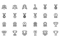 Award and Medal Vector Line Icons 5. Score! First place, second place, third place! This Award & Medal Vector Pack is filled with beautifully crafted icons Stock Photos