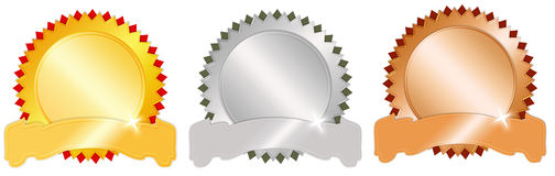 Award medals. Blank award medals set isolated over white Royalty Free Stock Photos