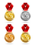 Award Medals. A set of four award medals in gold, silver and bronze Stock Photo