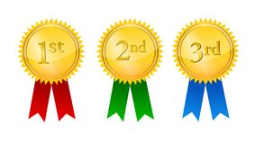 Award medals. With ribbons, illustration isolated on white background Royalty Free Stock Photography
