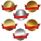 Award medals. Collection of isolated vector illustrations of 1st, 2nd and 3rd place Stock Photo
