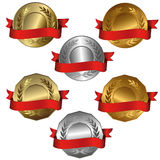 Award medals. Collection of isolated vector illustrations of 1st, 2nd and 3rd place Stock Photography
