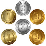 Award medals. Collection of isolated vector illustrations of 1st, 2nd and 3rd place Royalty Free Stock Image