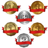 Award medals. Collection of isolated vector illustrations of 1st, 2nd and 3rd place Royalty Free Stock Photo