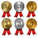 Award medals. Collection of  vector illustrations of 1st, 2nd and 3rd place Stock Image