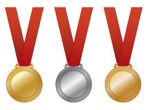 Award Medals EPS. A set of customizable awards medals, gold, silver and bronze. Available in vector EPS format Royalty Free Stock Photos