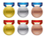 Award medals - gold, silver, bronze Royalty Free Stock Photos