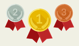 Award medals from gold, silver and bronze Stock Photography