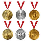 Award medals Gold, silver and bronze seals or medals. Collection of isolated vector illustrations of 1st, 2nd and 3rd place award - golden - bronze - silver Set royalty free illustration