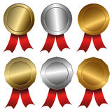 Award medals  Gold, silver and bronze seals or medals Royalty Free Stock Image