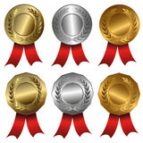 Award medals  Gold, silver and bronze seals or medals Stock Photography