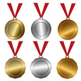 Award medals  Gold, silver and bronze seals or medals Stock Photo