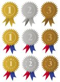 Award Medals / Ribbons. Set of golden, silver and bronze medals with ribbons vector illustration