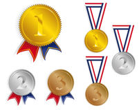 Award Medals / Ribbons. Golden, Silver and Bronze Medals With Ribbons - vector Royalty Free Stock Photography