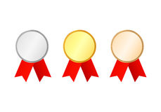 Award Medals with ribbons set. Collection of gold, silver and bronze medals. Isolated on background. Vector illustration Stock Image