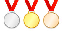 Award Medals with ribbons set. Collection of gold, silver and bronze medals. Isolated on background. Vector illustration Stock Photography