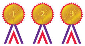 Award medals. 1st, 2nd and 3rd place award golden seals with ribbons. First, second and third place medals stock illustration