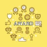 Award minimal outline icons Royalty Free Stock Image