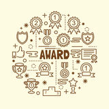 Award minimal thin line icons set. Vector illustration design elements Royalty Free Stock Image