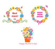 Award for mom with flowers. Bouquet and wreath Stock Photo