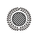 Award monochrome dish striped with racing background design and olive crown Stock Photography